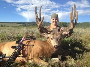 BBD for Tiffany at Red Creek Outfitters in Utah. Great start to the 2014 hunting season. Shot with my Mathews, Inc. SDX, Carbon Express Arrows blue streak 150's and Rage SS 100 grain broadhead.